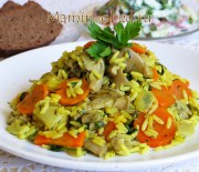 Рис с овощами и вешенками