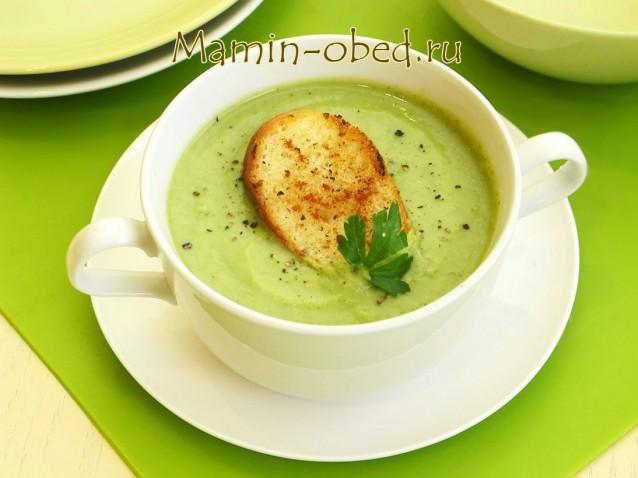 Суп-пюре из брокколи с гренками